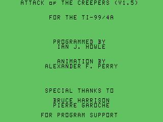 Attack of the Creepers opening screen
