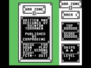 War Zone II opening screen